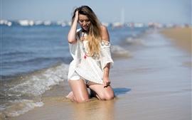 Лето, море, пляж, девушка