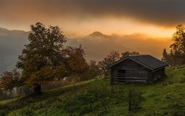 Preview wallpaper Sunrise, alpine, trees, house, clouds, fog