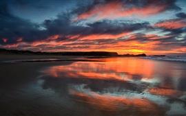 Pôr do sol, mar, céu, nuvens, crepúsculo