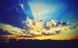 Pôr do sol, céu, nuvens, brilho