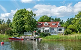 Sweden, boats, reeds, trees, house, pier, river
