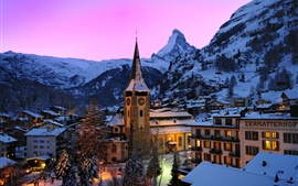 Preview wallpaper Switzerland, Zermatt, Swiss Alps, mountains, snow, houses, night, lights