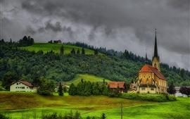 Suiza, iglesia, pueblo, colinas, árboles, nubes, anochecer