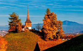 Preview wallpaper Switzerland, trees, valley, church, autumn