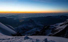 Preview wallpaper Switzerland, valley, snow, mountains, top view, Jungfraujoch, Bernese Alps