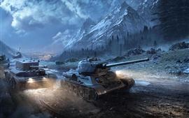 Vorschau des Hintergrundbilder T-34-85 Panzer in der Nacht, World Of Tanks