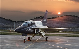 Preview wallpaper T-50A plane at airport, dawn, Lockheed Martin