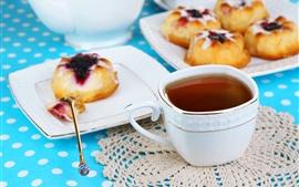 壁紙のプレビュー お茶、ケーキ、朝食