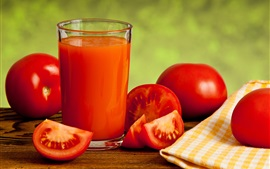 Preview wallpaper Tomatoes, vegetables, juice, glass cup