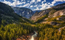 Preview wallpaper Tuolumne Meadows, mountains, river, trees, forest, sky, clouds, USA