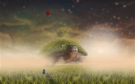 Preview wallpaper Turtle, grass, tree, child, creative design