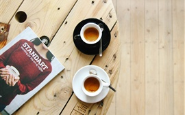 Preview wallpaper Two cups coffee, magazine, table