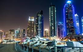 Emirados Árabes Unidos, Dubai, arranha-céus, noite, luzes