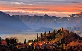 預覽桌布 瓦倫納,科莫湖,薩摩亞,意大利,山脈,房屋,樹木