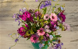Vase, bouquet, many kinds flowers