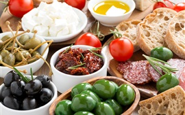 Aperçu fond d'écran Légumes, tomates, pain, olives, saucisse, viande, huile