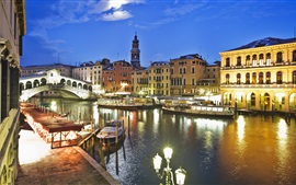 Preview wallpaper Venice, Italy, canal, bridge, boats, houses, night, lights