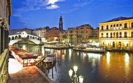 Венеция, Италия, канал, мост, лодки, дома, ночь, огни