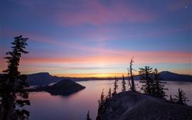 Вулкан, озеро Кратер, Орегон, восход, гора, рассвет