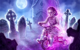 Preview wallpaper Watercolor painting, child girl, bike, cemetery