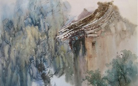 Watercolor painting, chinese countryside house