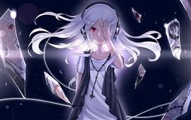 Белые волосы аниме девушка, розовые глаза