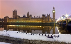 Whitehall, London, England, city, winter, snow