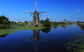 Preview wallpaper Windmill, Netherlands, channel, water, blue sky