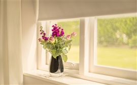 Preview wallpaper Windowsill, rose, flowers, vase