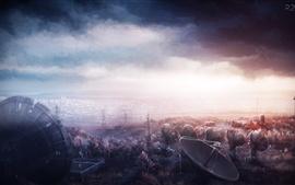 Провод, башня, антенна, облака, художественная фотография