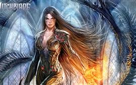 Aperçu fond d'écran Witchblade, fille fantastique, cheveux longs, armure, bande dessinée