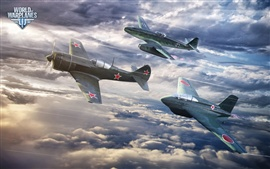 World of Warplanes, three fighters flight