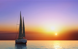 Preview wallpaper Yacht, sails, sunset, sea