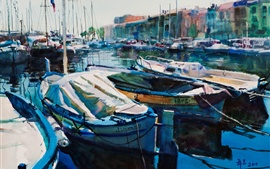 Preview wallpaper Yachts, boats, pier, watercolor painting