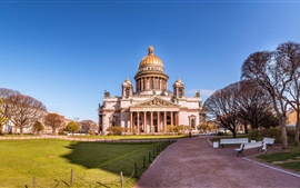 Architecture, cathedral, Saint Petersburg, Russia, road, trees, bench
