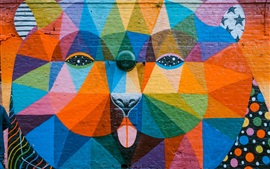 Art graffiti, colorful, animal, wall