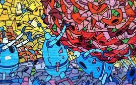 Preview wallpaper Art graffiti wall, robot