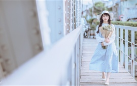 Preview wallpaper Asian girl, flowers, hat, white style