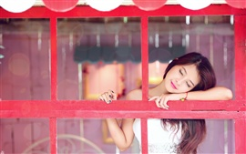 Preview wallpaper Asian girl intoxicated to smile, window