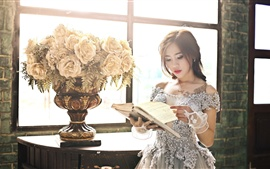 Asian girl reading book, window, flowers