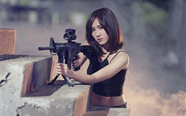 Preview wallpaper Asian girl, short hair, rifle