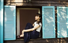 Preview wallpaper Asian girl sit at windowsill