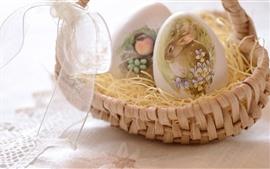 Cesta, huevos, pintura de conejo, Semana Santa