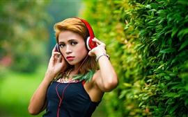미리보기 배경 화면 아름다운 아시아 소녀, 헤드폰, 음악