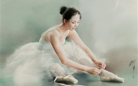 Preview wallpaper Beautiful ballerina, Chinese girl, watercolor painting