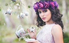 Preview wallpaper Beautiful girl, coffee, cup, purple wreath