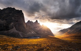 Preview wallpaper Beautiful nature landscape, clouds, mountains, rocks, sunset, autumn