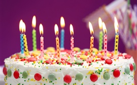 Preview wallpaper Birthday cake, colorful candles, flame