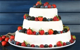 Preview wallpaper Birthday cake, strawberry, blueberry