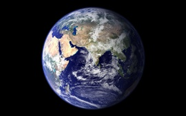 Blue Earth, planet, black background